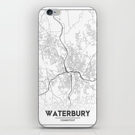 Minimal City Maps - Map Of Waterbury, Connecticut, United States iPhone Skin