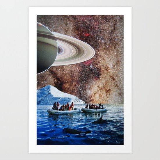 Whales of Titan Moon Art Print