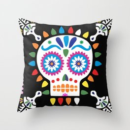 Day of the Dead Black Sugar Skull Throw Pillow