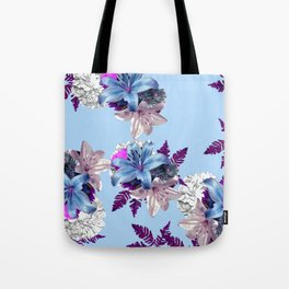 LILY SILVER BLUE AND PURPLE WITH WHITE HYDRANGEAS Tote Bag
