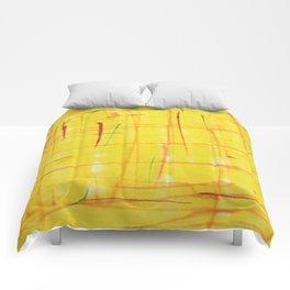 Stroked Yellow Comforters