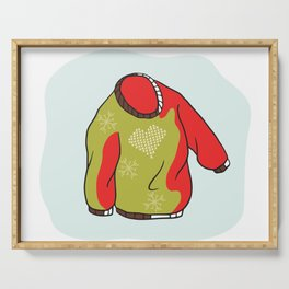 Nordic Christmas Jumper Vector Clipart. Hand Drawn Embroidered Heart Ugly Sweater Serving Tray