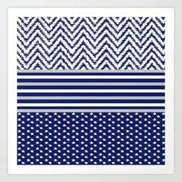 Ikat Blue Chevron Art Print