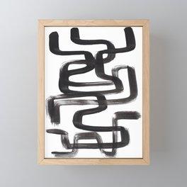 Black And White Minimalist Mid Century Abstract Ink Art Ink Maze Brush Strokes Minimal Framed Mini Art Print