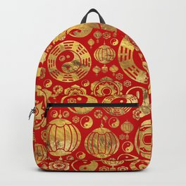 The Bagua -Pa Kua and Chinese lucky symbols pattern Backpack