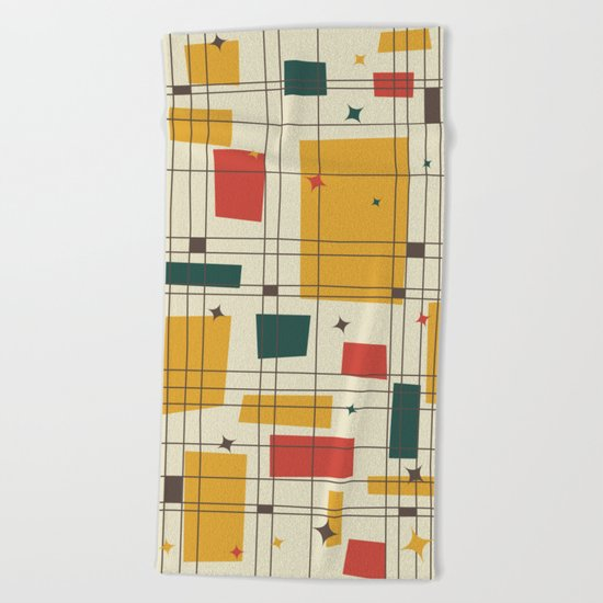 Mid-Century Modern (gold) Beach Towel