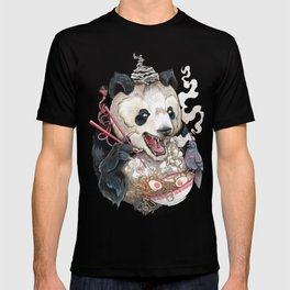 Panda Eating Ramen In A Tin Foil hat T-shirt