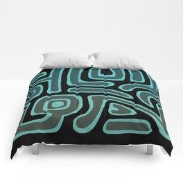 Tribal Maze II - Teal Comforters