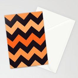 Halloween orange chevron pattern Stationery Cards