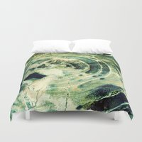 labyrinth Duvet Covers featuring Green Labyrinth by artstrata