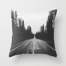 Grey road Throw Pillow