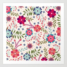 Colorful Floral Spring Pattern Art Print