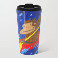 Kayak Ape on Blue Travel Mug