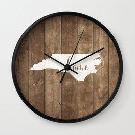 North Carolina is Home - White on Wood Wall Clock