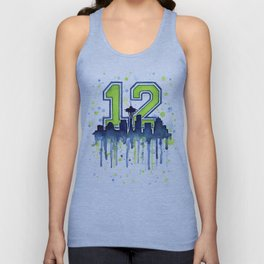 Seattle 12th Man Fan Art Seattle Space Needle Unisex Tank Top