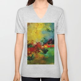 Colorful Landscape Abstract Art Print Unisex V-Neck