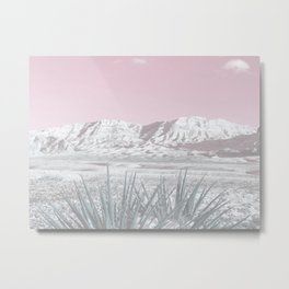 Mojave Snow // Red Rock Canyon Las Vegas Desert Landscape Light Pink Sky Vintage Photography Metal Print
