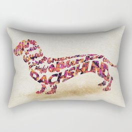 The Dachshund Dog Typography Art / Watercolor Painting Rectangular Pillow