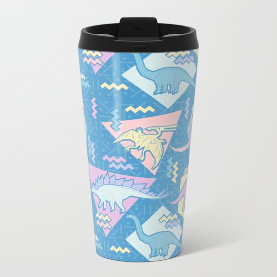 Nineties Dinosaurs Pattern  - Pastel version Metal Travel Mug
