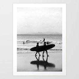 Byron Bay Surfers Art Print