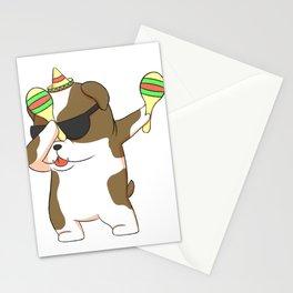 Dabbing Bulldog In Sombrero With Maracas Fiesta Stationery Cards