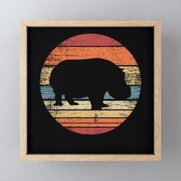 Hippo Retro Framed Mini Art Print