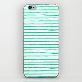 Broken Lines Pattern Bright Mint iPhone Skin