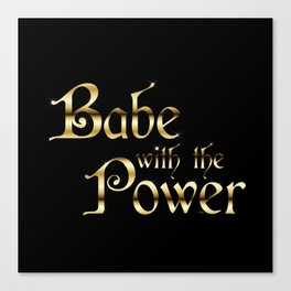 Labyrinth Babe With The Power (black bg) Canvas Print