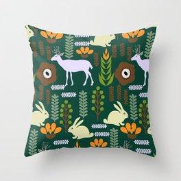 A garden with bunnies and deer Throw Pillow