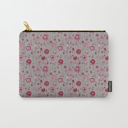 Pink and grey floral with wild roses Carry-All Pouch