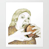 hamburger Art Prints featuring Hamburger by Sophie van Mackelenbergh Illustration