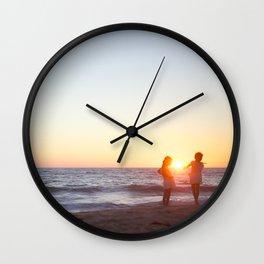 Sisters at the Beach Wall Clock