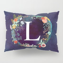 Personalized Monogram Initial Letter L Floral Wreath Artwork Pillow Sham