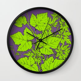 Green and purple leaf ornament Wall Clock