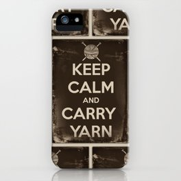 Keep Calm and Carry Yarn - Sepia Panel - Knitting iPhone Case