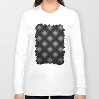 leather Long Sleeve T-shirts featuring BLACK LEATHER by Smart Friend