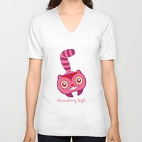 cheshire V-neck T-shirts featuring Cheshire by gabriela