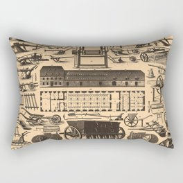 Historical Farm Equipment Illustration (1907) Rectangular Pillow