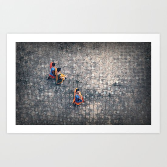 Monks in the city Art Print