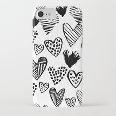 Hearts black and white hand drawn minimal love valentines day pattern gifts decor iPhone 7 Slim Case