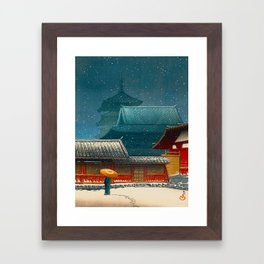 Vintage Japanese Woodblock Print Japanese Red Shinto Shrine Pagoda Winter Snow Framed Art Print