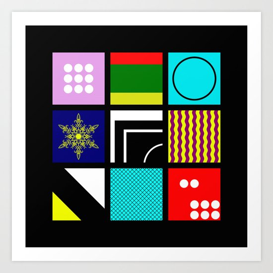 Eclectic 1 - Random collage of 9 bold colourful patterns in an abstract style Art Print