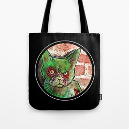 Mean Green Cute Zombie Cat Tote Bag