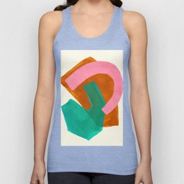 Ochre Pink Marine Green Fun Colorful Mid Century Modern Abstract Painting Shapes Pattern Unisex Tank Top