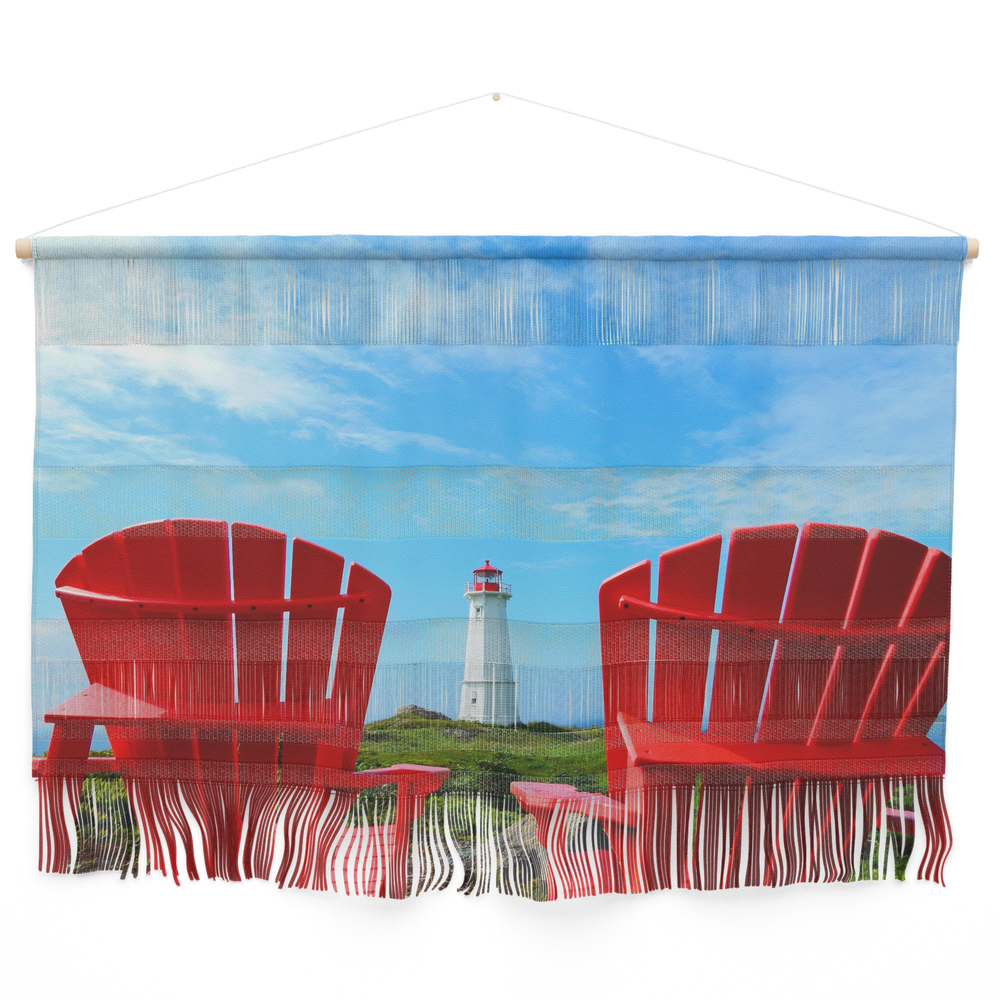 Lighthouse And Chairs In Red White And Blue Wall Hanging by danbythesea