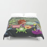 computer Duvet Covers featuring Computer bugs by Fran Court