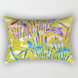 Spring Batik Butterfly Stencil Design - Lemon Yellow | Chinoiserie Chic Watercolor  Rectangular Pillow