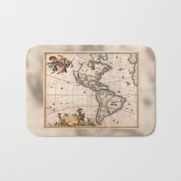 North & South America map 1658 with 2017 enhancements Bath Mat