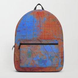 Beijing Street Map Art Watercolor Apocalyptic Earth Backpack