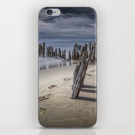 Footprints and Pilings on the Beach at Kirk Park by Grand Haven Michigan iPhone Skin